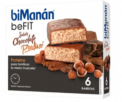 BiManán Barritas BeFit Sabor Chocolate Praliné Proteína (6 ud)