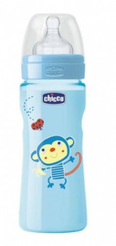 CHICCO Biberon Well-Being Azul 330ML Latex Flujo Rapido