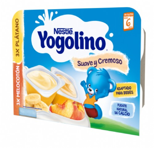 Nestlé Yogolino Suave y Cremoso Plátano / Melocotón +8 m (6 ud x 60 g)