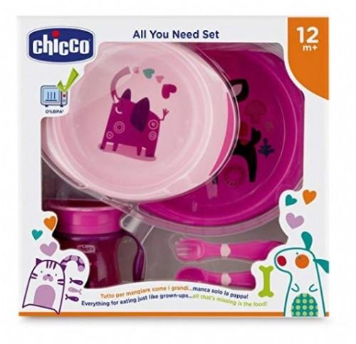 cubiertos Chicco Set completo comida vaso incluye platos 12 m+ rosa