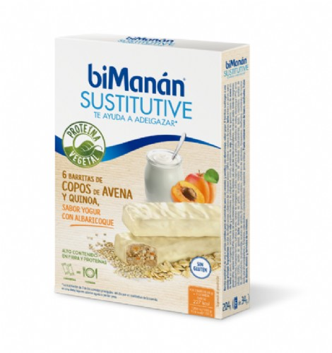 BiManán Sustitutive Barritas Sabor Yogur con Albaricoque (6 barritas)