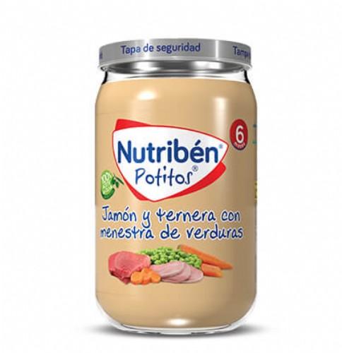 Nutribén Potito Jamón y ternera con menestra de verduras +6m (235 g)