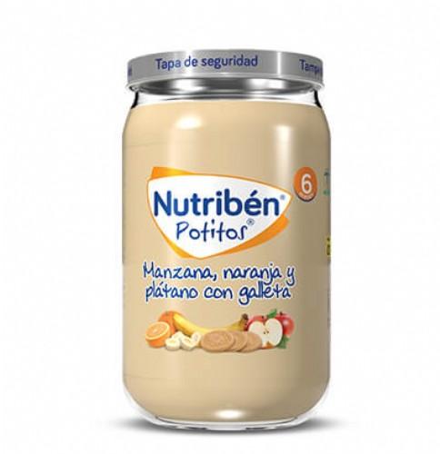 Nutribén Potito Manzana, naranja y plátano con galleta +6m (235 g)