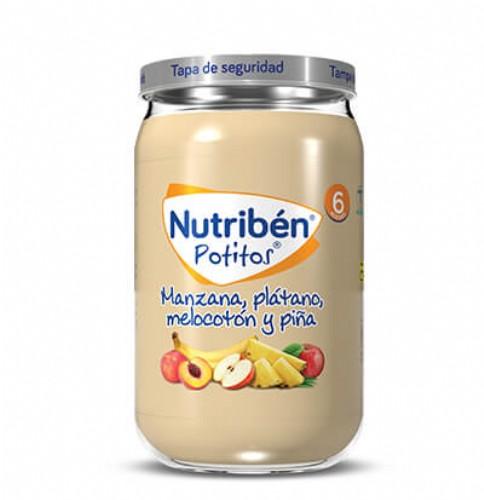 Nutribén Potito Manzana, plátano, melocotón y piña +6m (235 g)