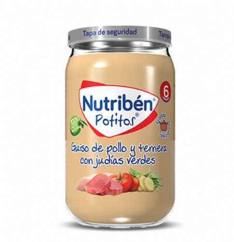 Nutribén Potito Guiso de Pollo y Ternera con Judías Verdes +6m (235 g)