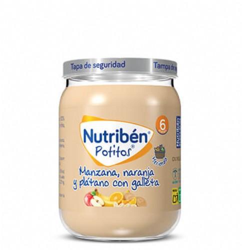 Nutribén Potito Manzana, naranja y plátano con Galleta +6m (190 g)