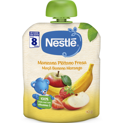 Nestlé Bolsita Manzana, Plátano y Fresa +8 m (90 g)