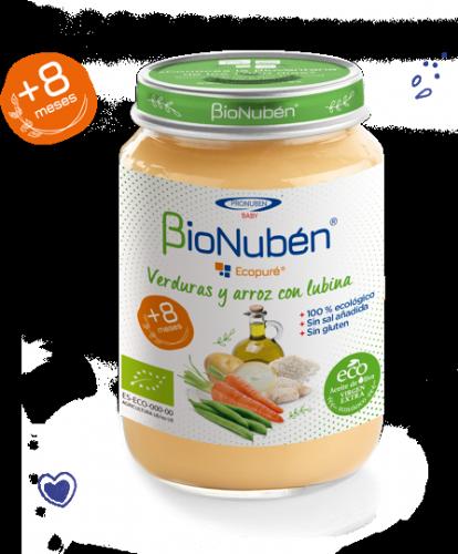 BioNubén Ecopuré Verduras y Arroz con Lubina +8m (250 g)