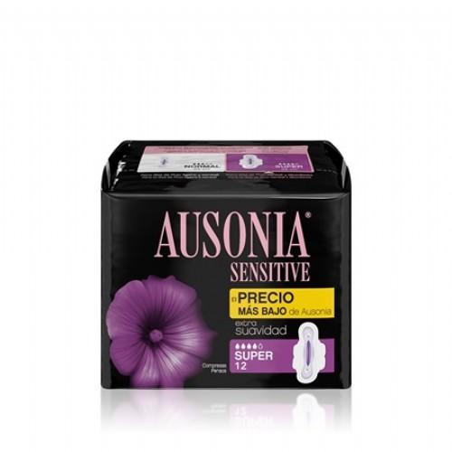 Ausonia Compresas Sensitive con Alas Super (12 ud)