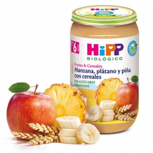 HiPP Tarrito Bio Manzana, plátano, piña con cereales +6m (250 g)