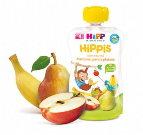 HiPP Bolsita Hippis Manzana, Pera y Plátano +4 m (90 g)