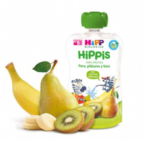 HiPP Bolsita Hippis Kiwi, Pera y Plátano +6 m (90 g)