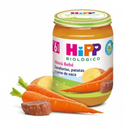 HiPP Menú Bebé: Zanahorias, Patatas y Carne de vaca +6m (190 g)