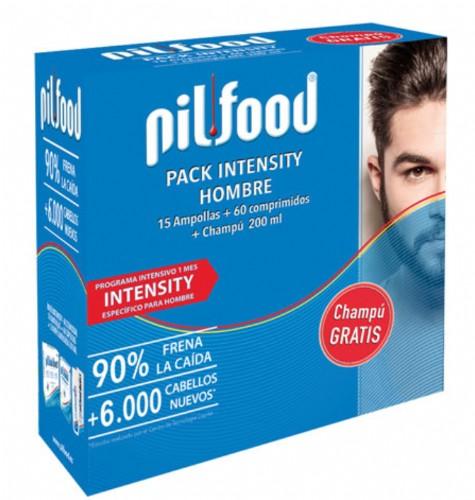 Pilfood Pack  Intensity Hombre: 60 comprimidos+ 15 ampollas + champú - caída intensa