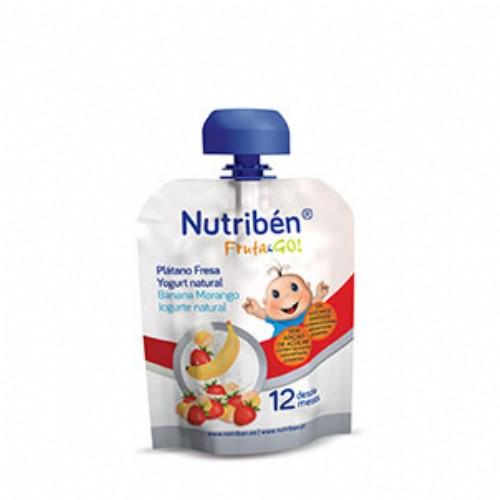 Nutribén Fruta & GO! Plátano, fresa y yogurt natural (90 g)