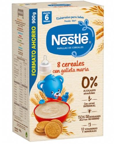 Nestlé FORMATO AHORRO Papilla 8 Cereales con Galleta María (900 g)
