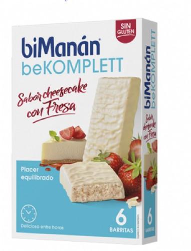 BiManán BeKomplett Barritas Sabor CheeseCake con Fresa (6 ud)
