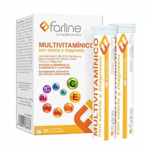 Farline Multivitamínico con Calcio y Magnesio (30 comprimidos efervescentes)
