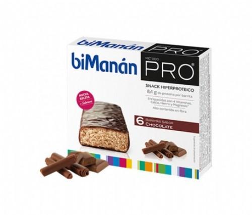 BiManán PRO Barrita Chocolate - Hiperproteica e hipocalórica (27 g x 6 barritas)