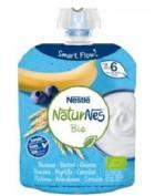 Nestlé Naturnes Postre Lácteo Bolsita Plátano, Arándanos y Cereales +6m  (90 g)