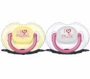 Avent Chupete Decorado con texto I love mama / I love milk  0-6 m Rosa (2 ud)