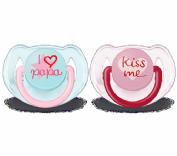 Avent Chupete Decorado con textos I love papa / Kiss me  6-18 m Rosa (2 ud)