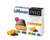 BiManán PRO Barrita Chocolate y Naranja - Hiperproteica e hipocalórica (27 g x 6 barritas)