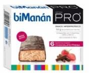 BiManán PRO Barrita Chocolate Fresa - Hiperproteica e hipocalórica (27 g x 6 barritas)