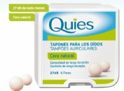 Quies Tapones Oidos de Cera Color Natural (16 ud)