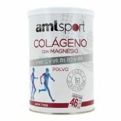 AmlSport Colágeno y Magnesio+ VIT.C + VIT.B1, B2 y B6 en polvo Sabor Fresa (350 g)