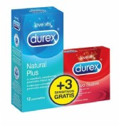 Durex Duplo Preservativos Natural Plus (12 ud) + Sensitivo Suave (3 ud)